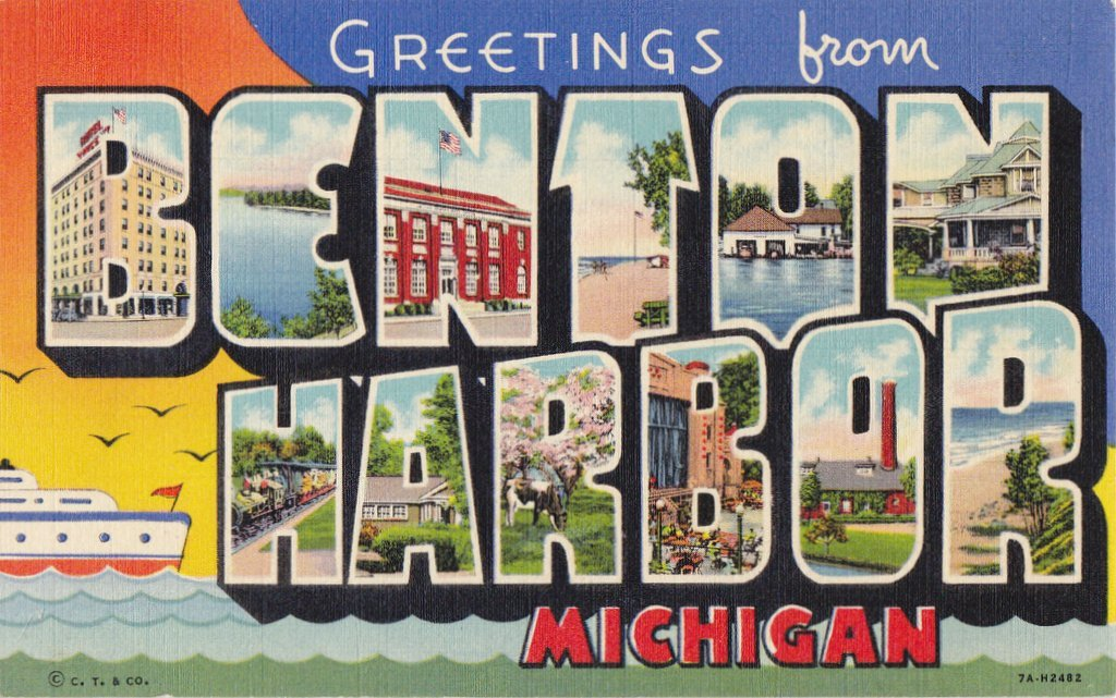 Greetings From Benton Harbor- 1940s Vintage Postcard- Benton Harbor, Michigan- Classic Souvenir- Large Letter- Paper Ephemera- Curteich- Unused