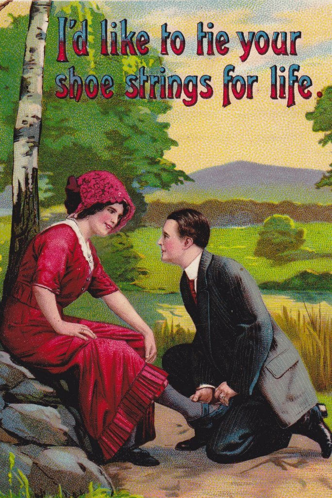 Tie Your Shoe Strings For Life- 1910s Antique Postcard- Edwardian Romance- Samson Brothers- Art Comic- Used