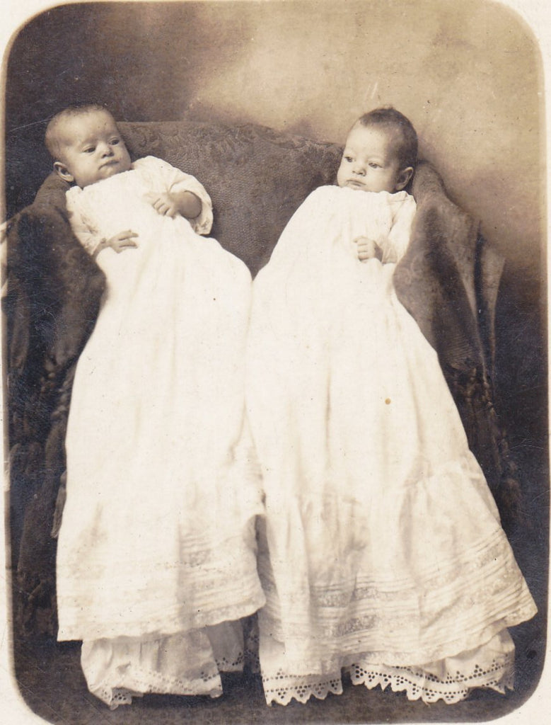 Infant Twins- 1900s Antique Photograph- Edwardian Babies- Identical Twins- Real Photo Postcard- RPPC- Monroeville, IN