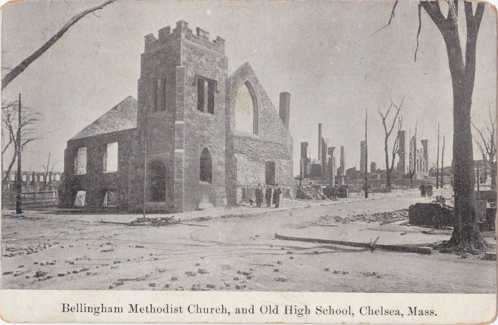 Great Chelsea Fire of 1908- 1900s Antique Postcard- Bellingham Methodist Church- High School- Fire Aftermath- Disaster- Metropolitan News