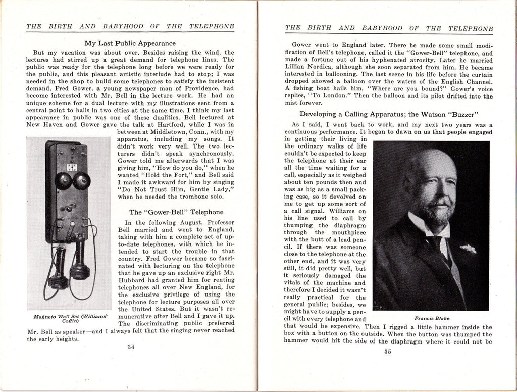 The Birth And Babyhood of the Telephone- 1940s Vintage Booklet- Thomas A Watson- Historical Address- Telephone History- Paper Ephemera