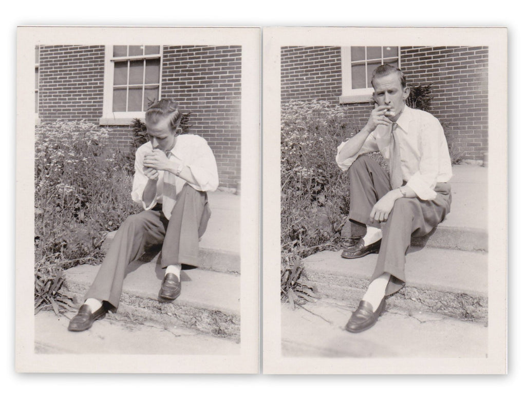 Lighting Up- 1940s Vintage Photographs- SET of 2- Man Smoking Cigarette- Found Photos- Vernacular Snapshots- Paper Ephemera