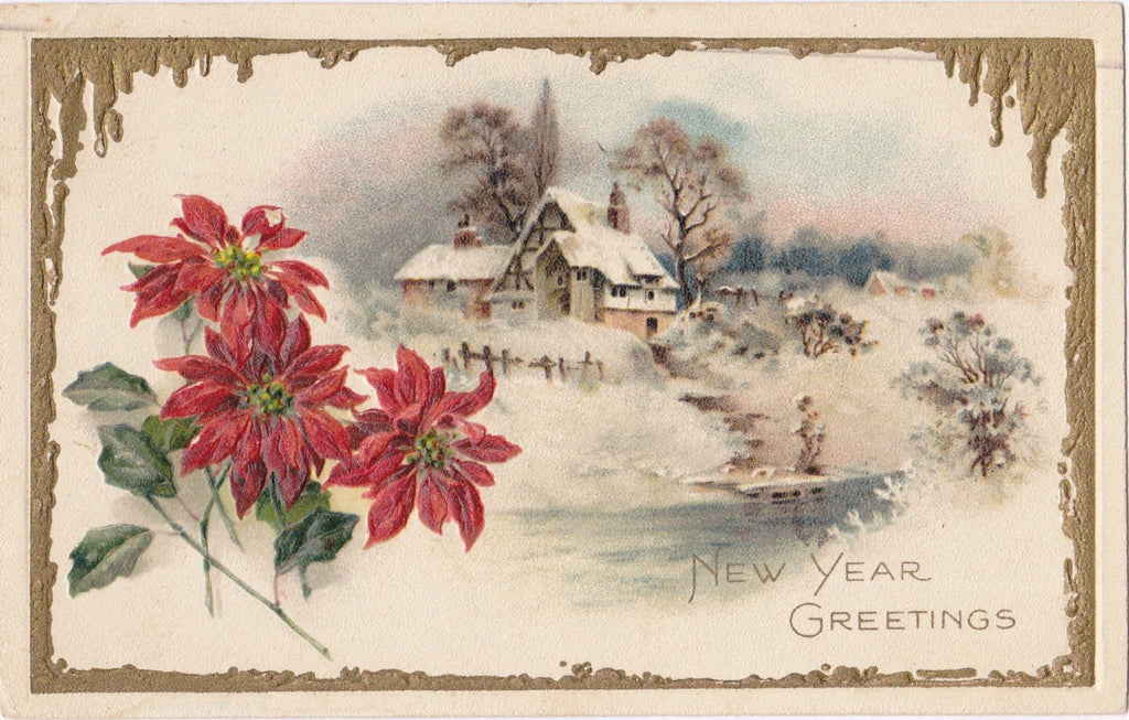 New Year Greetings- 1920s Antique Postcard- Poinsettia Flowers- Winter Country Scene- Embossed- Used
