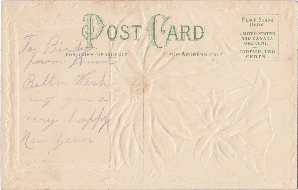 New Year Poinsettias- 1900s Antique Postcard- Edwardian Country Scene- Winter Season- Embossed- Used