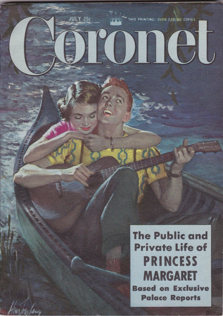 Life of Princess Margaret- 1950s Vintage Coronet Magazine- July 1951- Moonlight Serenade- Howard Forsberg- 50s Decor- Paper Ephemera