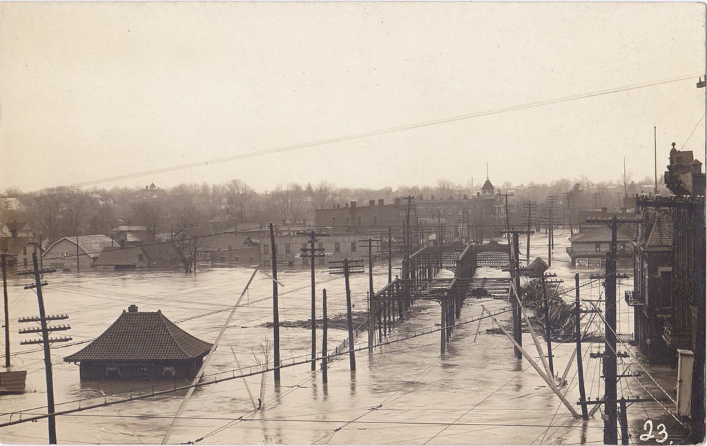 Come Hell and High Water- 1910s Antique Photograph- State Street Bridge- Freemont, OH- Natural Disaster- Great Flood 1913- AZO RPPC