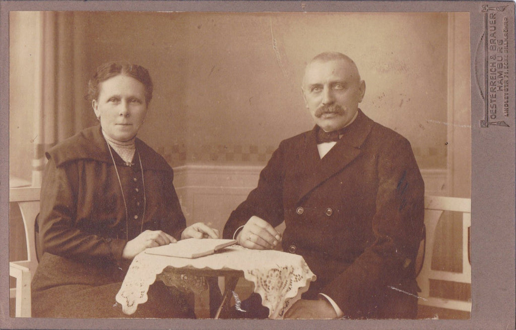 By The Book- 1900s Antique Photograph- Edwardian Couple- Open Book- Mustache Man- Hamburg, Germany- Cabinet Photo- Paper Ephemera