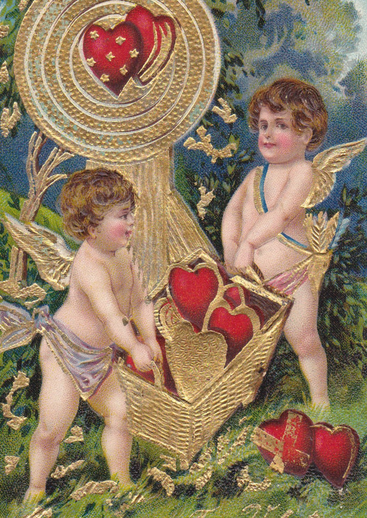 Light Hearts- 1900s Antique Postcard- Edwardian Valentine- Winged Cupid- Red Hearts- Embossed- Used