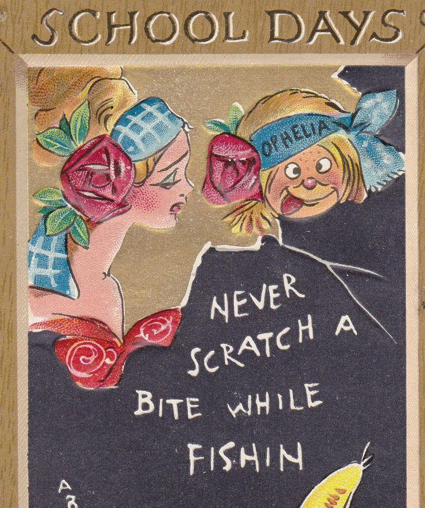 Never Scratch A Bite While Fishing- 1910s Antique Postcard- School Days Ophelia Comic- Dwig Art- Artist Signed- Raphael Tuck & Sons- Used