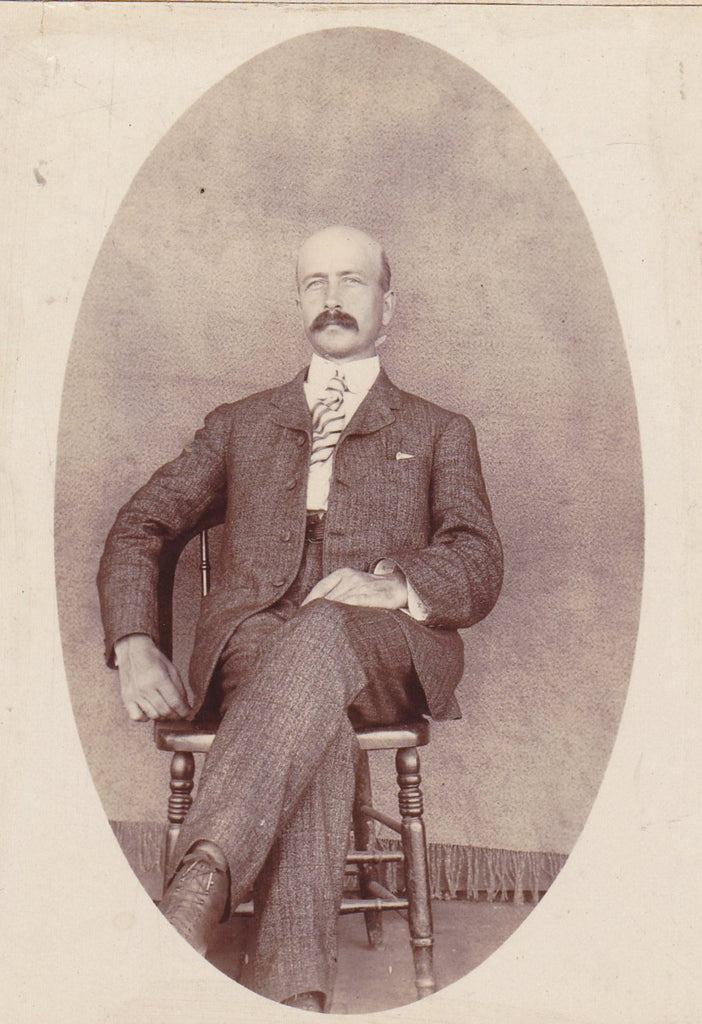 Bald-headed Gentleman- 1800s Antique Photograph- Victorian Man- Mustache- Handsome Portrait- Cabinet Photo- Paper Ephemera