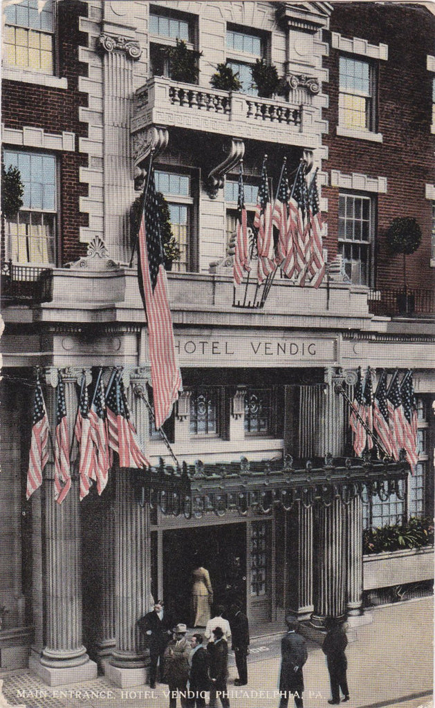 Hotel Vendig- 1910s Antique Postcard- Philadelphia, PA- American Flag- Edwardian Souvenir- Fire-Proof- James C Walsh- Used
