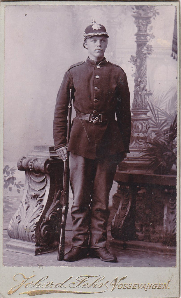 Norwegian Soldier- 1890s Antique Photograph- Spiked Helmet- Mauser Gun- Bolt-Action Rifle- Vossevangen, Norway- CDV Portrait