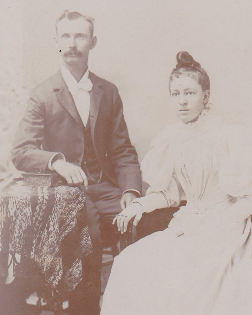 Victorian Bride and Groom- 1800s Antique Photograph- Fingerless Gloves- Cabinet Photo- H P Goodman- Whitewater, Wisconsin- Paper Ephemera