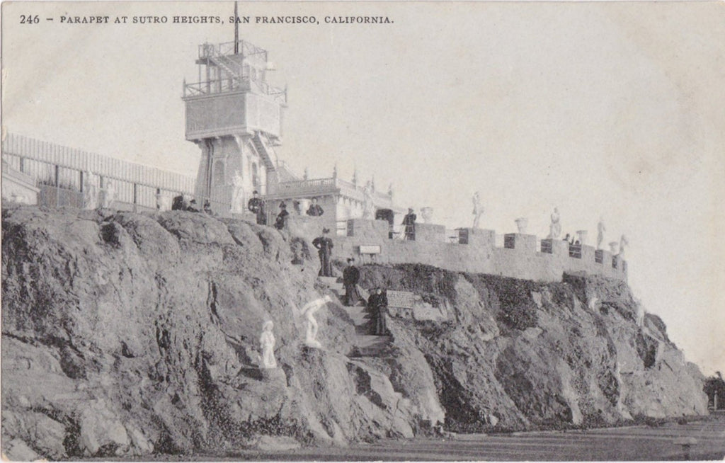 Sutro Heights Parapet- 1910s Antique Postcard- Adolph Sutro- Cliff House- San Francisco, California- Edward H Mitchell