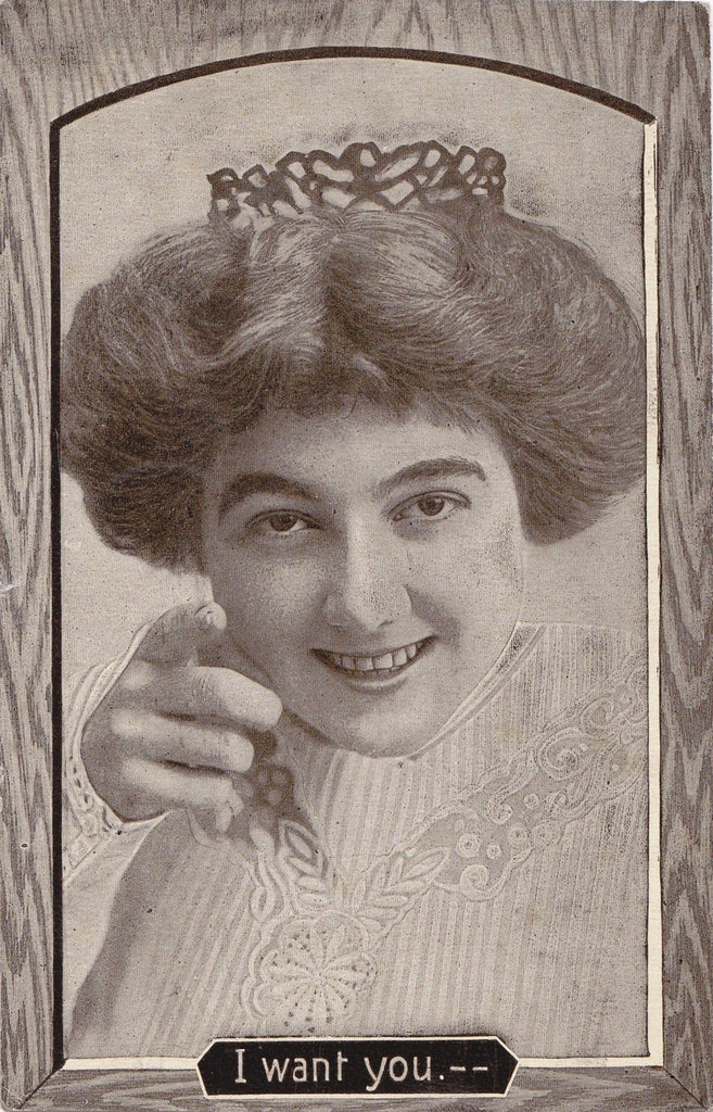 I Want YOU- 1910s Antique Postcard- Edwardian Woman- Pointing Hand- Beauty- Art Romance- Theochrom- Used