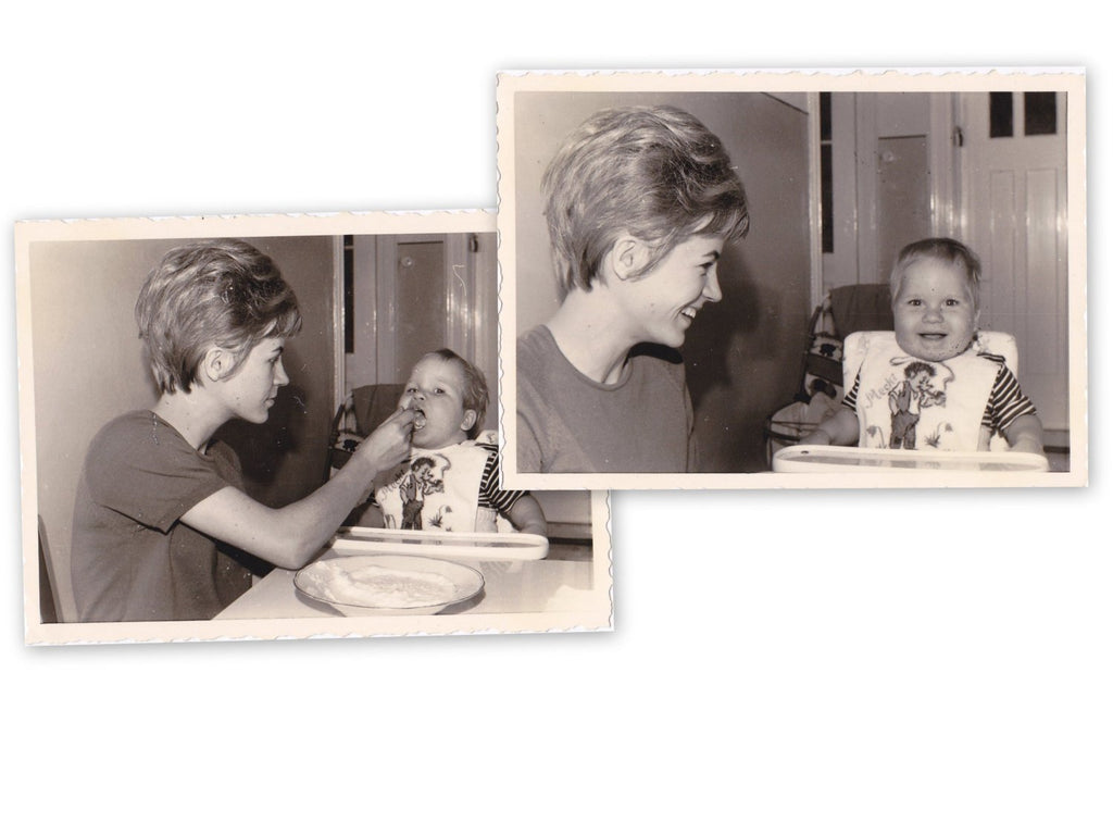 Mecki Hedgehog- 1960s Vintage Photographs- SET of 2- German Mother and Son- Feeding Baby- 60s Fashion- Found Photos
