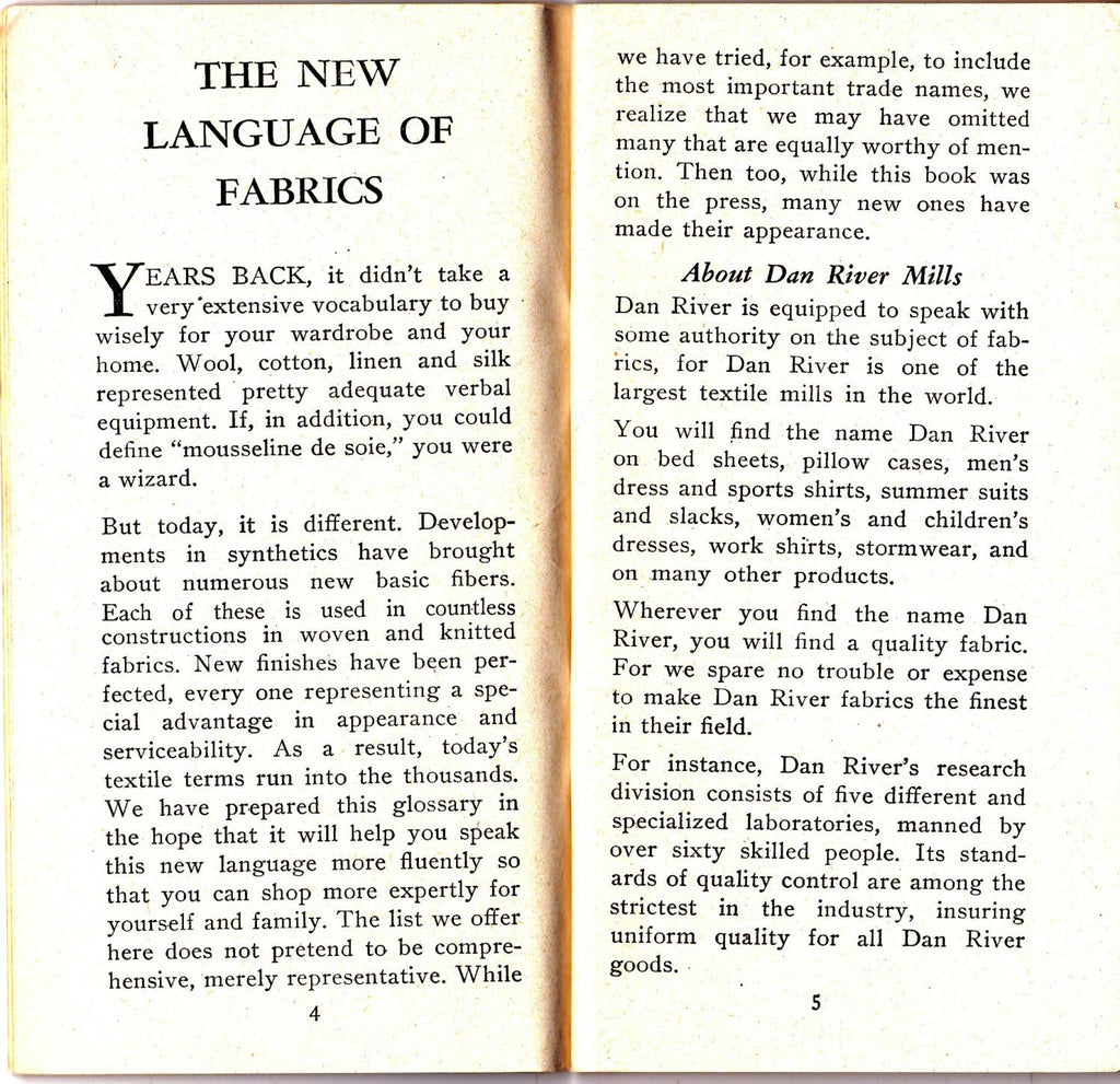 Dan River's Dictionary of Textile Terms- 1940s Vintage Booklet- Fabric Types- Reference Book- Fashion History- 5th Edition- Paper Ephemera