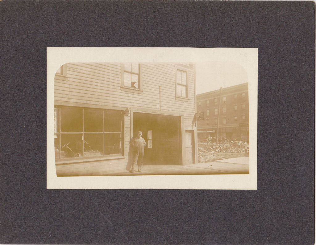 Edwardian Mechanic- 1900s Antique Photograph- Automobile Garage- Car Repair Shop- Cabinet Photo- Vernacular- Paper Ephemera