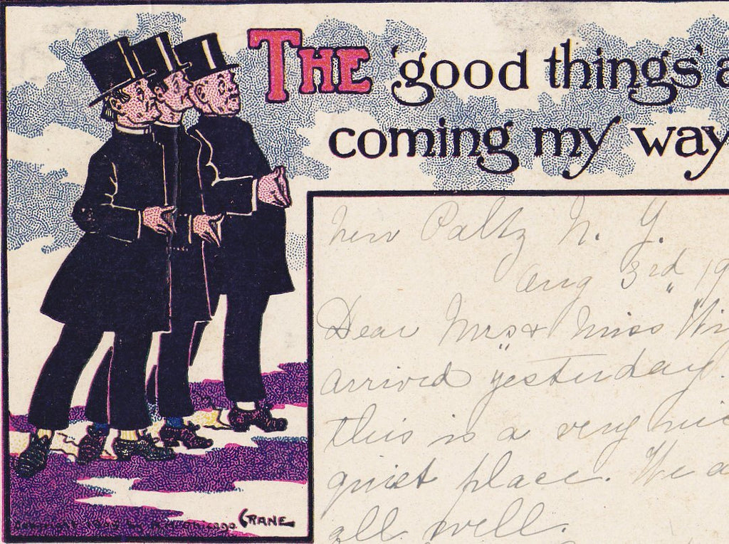 The Good Things Are Coming My Way- 1900s Antique Postcard- Edwardian Dandies- Humor- Art Comic- Artist Signed Crane- Used