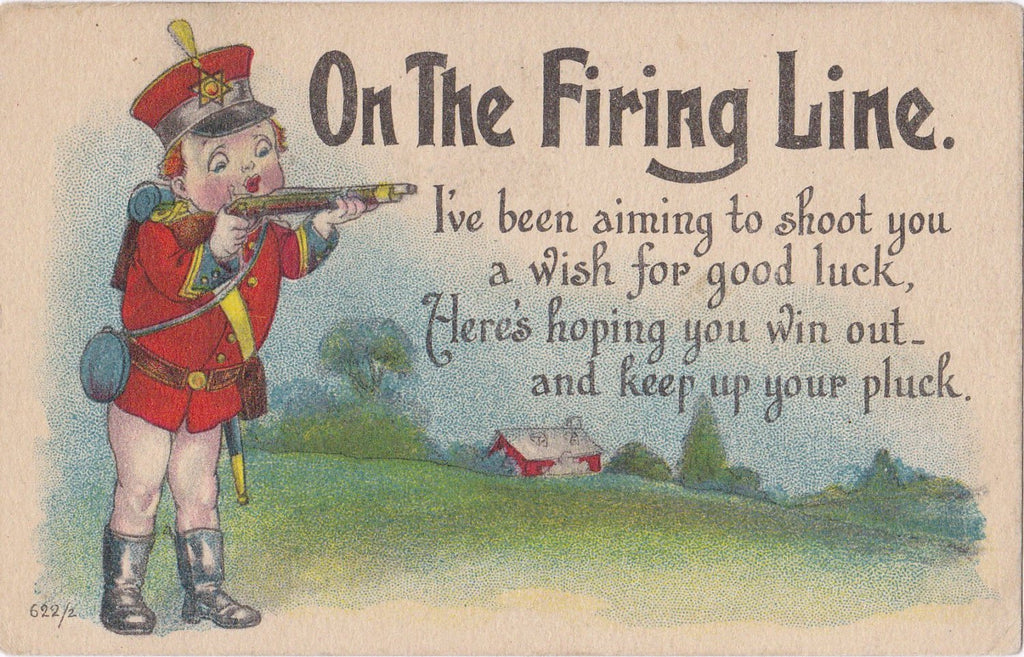 On The Firing Line- 1910s Antique Postcard- Aiming to Shoot You- Cupid's Rifle- Edwardian Valentine- Art Comic- S Bergman- Used