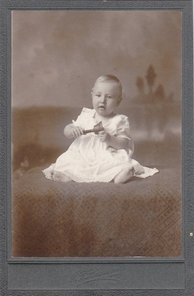 Baby Holding Bell- 1800s Antique Photograph- Victorian Baby- Child Portrait- E T Benson- Sterling, Nebraska- Cabinet Photo- Paper Ephemera