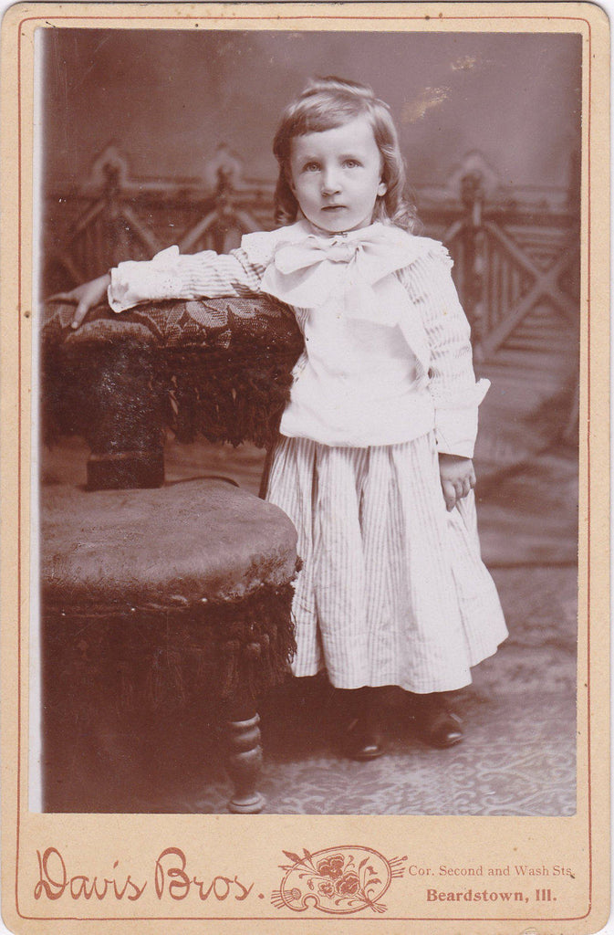 Stripey Spring Frock- 1800s Antique Photograph- Victorian Boy in Dress- Davis Bros- Cabinet Photo- Beardstown, IL- 19th Century Portrait