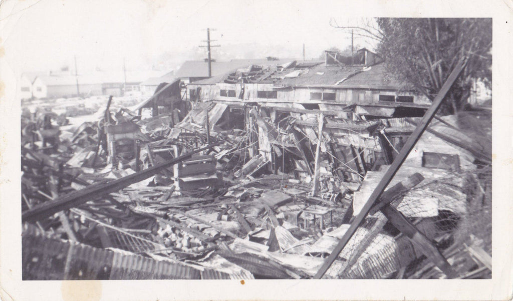 Tornado Devastation- 1940s Vintage Photographs- SET of 2- Cyclone Aftermath- Natural Disaster- Ruins Snapshots