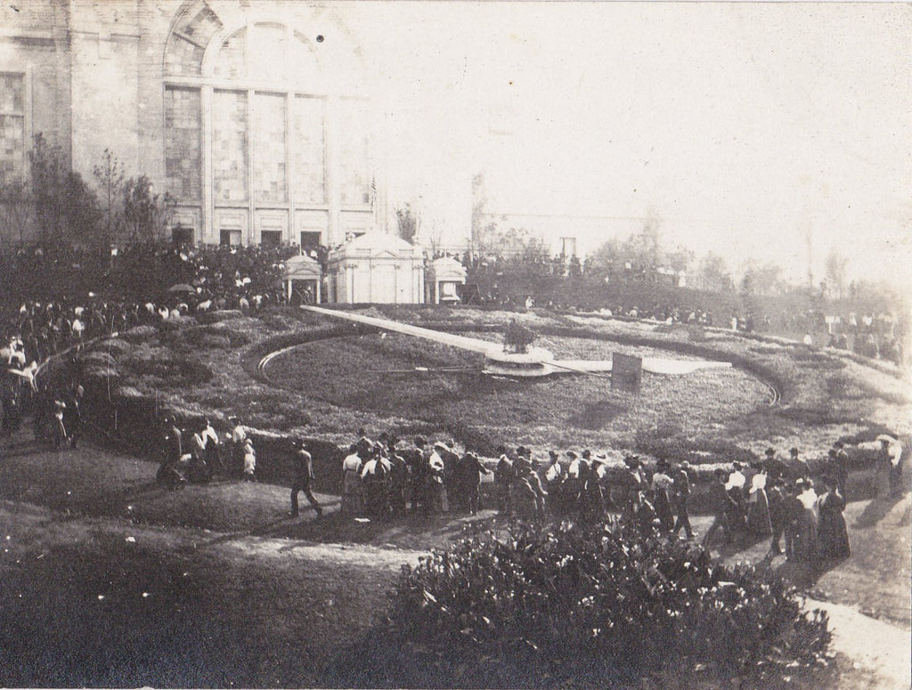 Great Floral Clock- 1900s Antique Photograph- 1904 Louisiana Purchase Exposition- Agricultural Building- Real Photo Postcard- Cyko RPPC