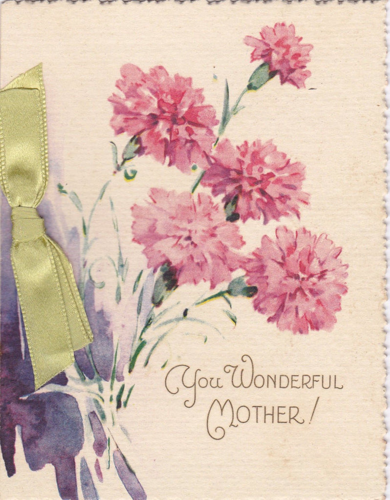 You Wonderful Mother- 1930s Vintage Card- Happy Mother's Day Card- Pink Carnations- Not Old Fashioned- Unused