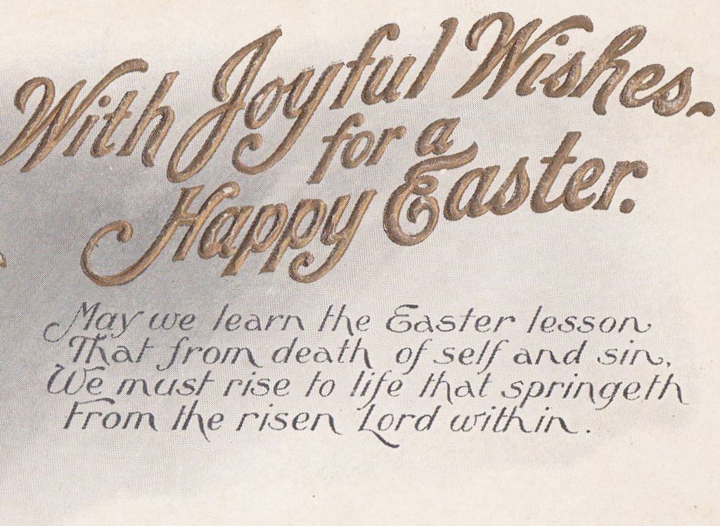 With Joyful Wishes- 1900s Antique Postcard- Happy Easter- Gem Photo- Edwardian Woman Portrait- Embossed