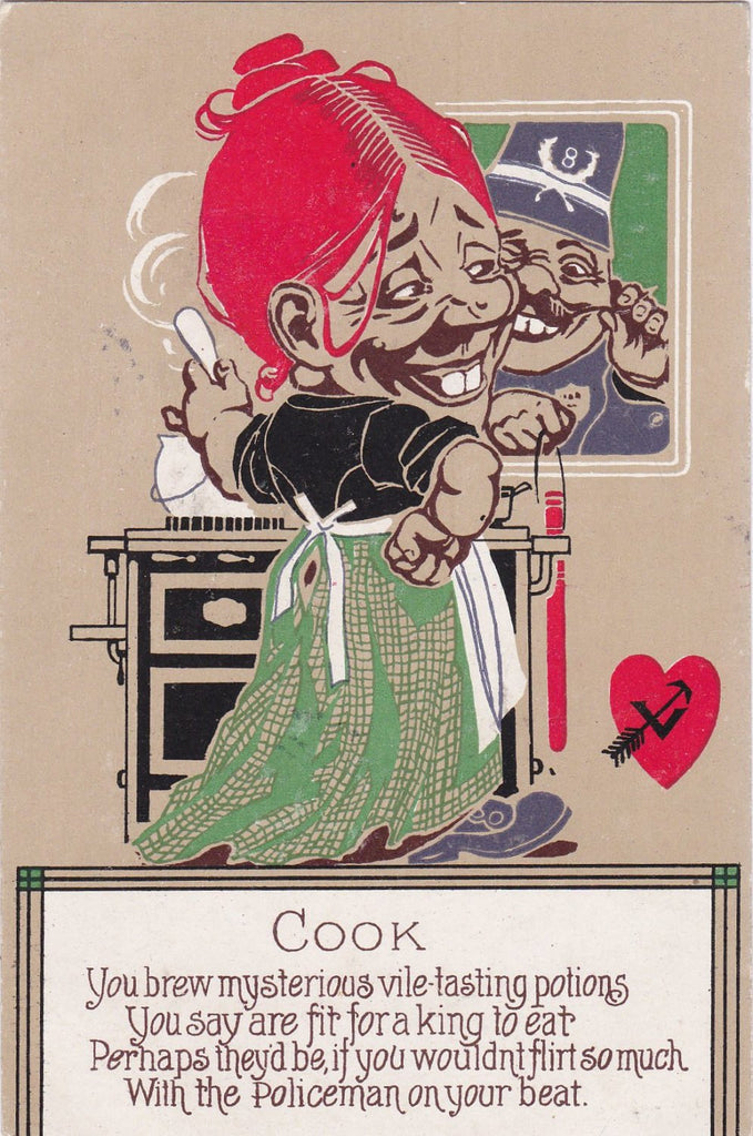 The Cook- 1900s Antique Postcard- You Brew Mysterious Vile Tasting Potions- Policeman- Edwardian Humor- Valentine Comic- Unused