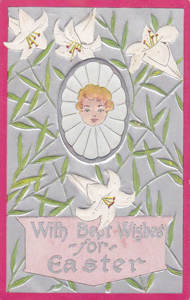 With Best Wishes for Easter- 1900s Antique Postcard- Edwardian Easter- Art Nouveau- White Lilies- Albert Hahn- Embossed- Used