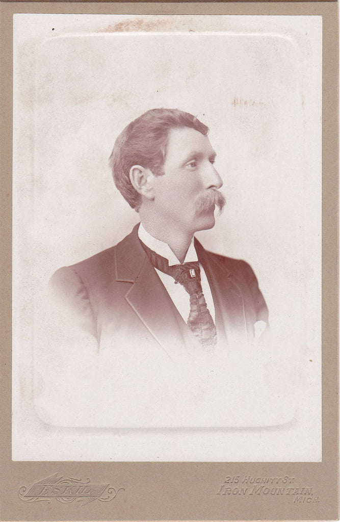 Soup Strainer Mustache- 1800s Antique Photograph- Victorian Man- Iron Mountain, MI- 19th Century Portrait- Cabinet Photo- Paper Ephemera