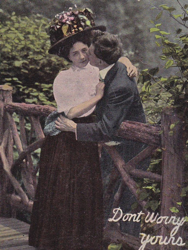 Jolly Time- 1900s Antique Postcard- Edwardian Romance- Don't Worry- Taylor Art Co- Dear Blank- Used