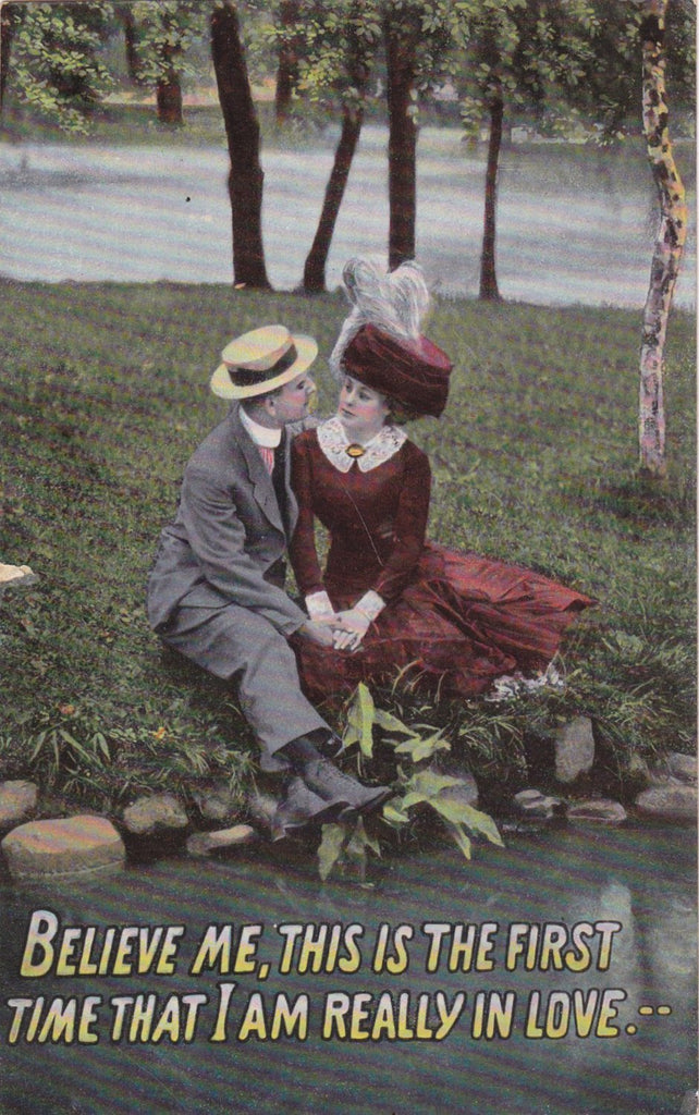 I Am Really In Love- 1910s Antique Postcard- Edwardian Romance- First True Love- Couple Holding Hands- Printed in Saxony- Used