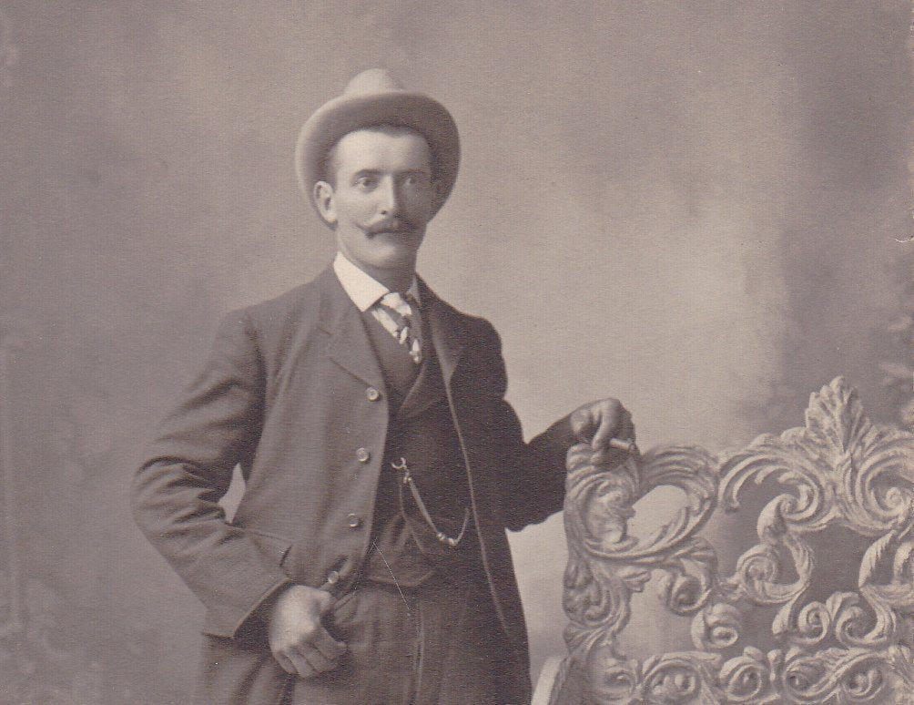 Turn of the Century Man- 1900s Antique Photograph- Edwardian Gentleman- Smoking Cigar- Mustache and Hat- Cabinet Photo- Paper Ephemera