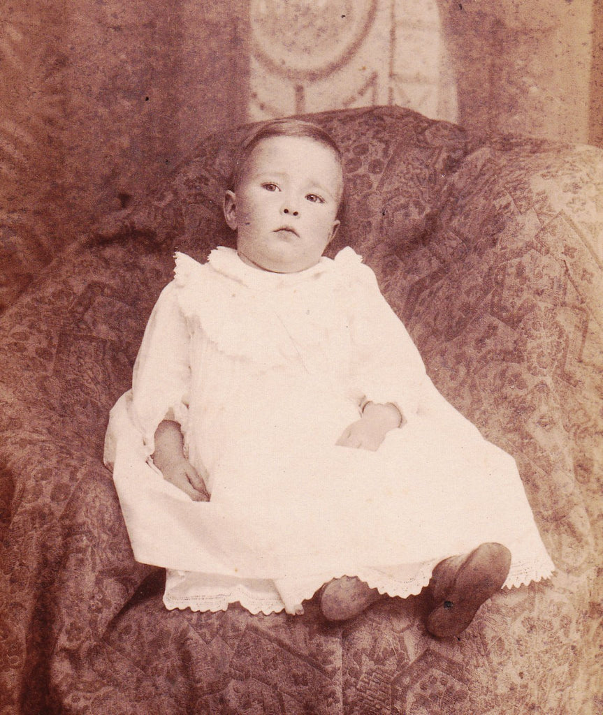 Victorian Baby Boy- 1800s Antique Photograph- Toddler Portrait- Saylor's Gallery- Reading, PA- Child Cabinet Photo- Paper Ephemera