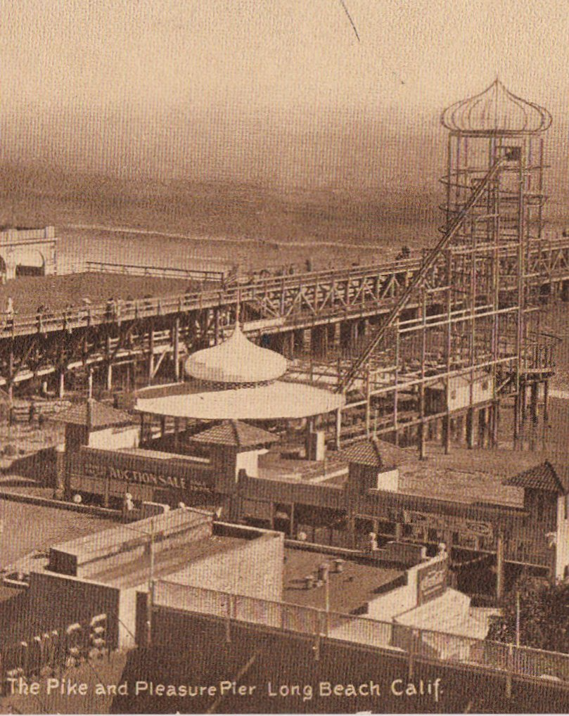 The Pike and Pleasure Pier- 1910s Antique Postcard- Long Beach, California- Edward H Mitchell- Sepia View Souvenir