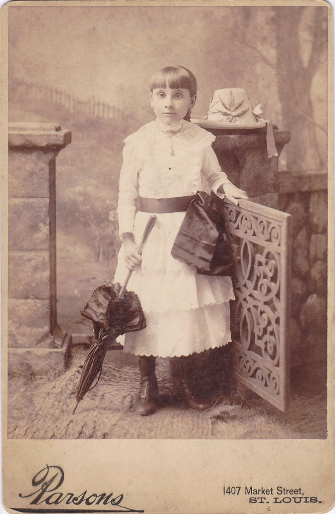 Child in Mourning- 1800s Antique Photograph- Victorian Mourning Clothes- Black Ribbon- Funeral Parasol- St Louis, Missouri- Paper Ephemera