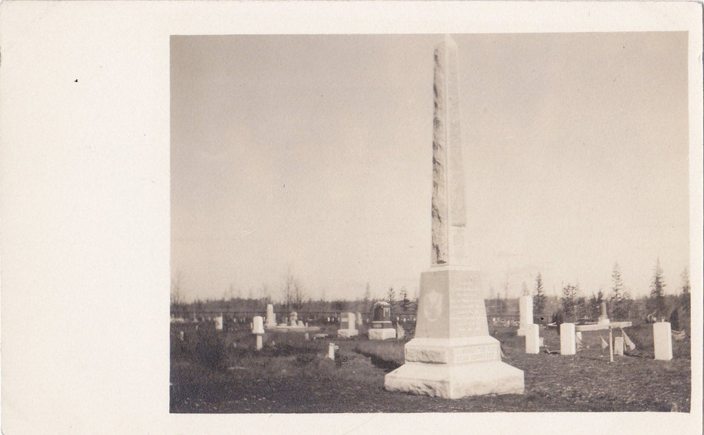 In Memory of Our Dead Comrades- 1910s Antique Photograph- Edwardian Cemetery- Obelisk Gravestones- Real Photo Postcard- AZO RPPC