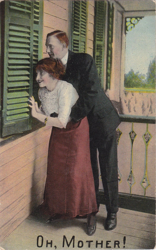 Oh, Mother!- 1910s Antique Postcard- Edwardian Humor- Peeping Tom- Window Shutter- Art Comic- Samson Brothers- Used