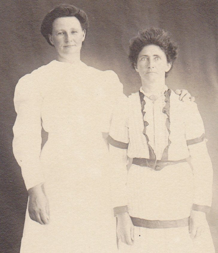 Blinding Beauties- 1900s Antique Photograph- Edwardian Women- Best Friends- Ghostly Portrait- Real Photo Postcard- AZO RPPC