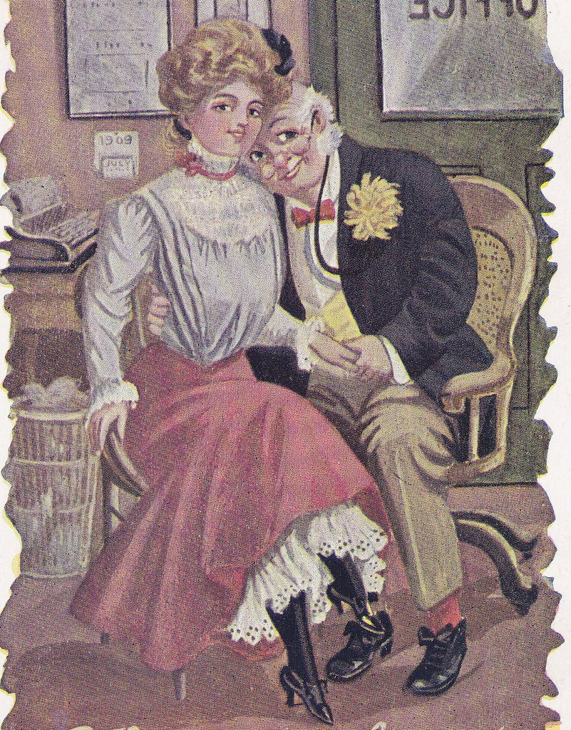 This is My Busy Day- 1910s Antique Postcard- Edwardian Secretary- Romance Art Comic- Office Job- Shirtwaist Beauty- Albert Hahn Co.- Used