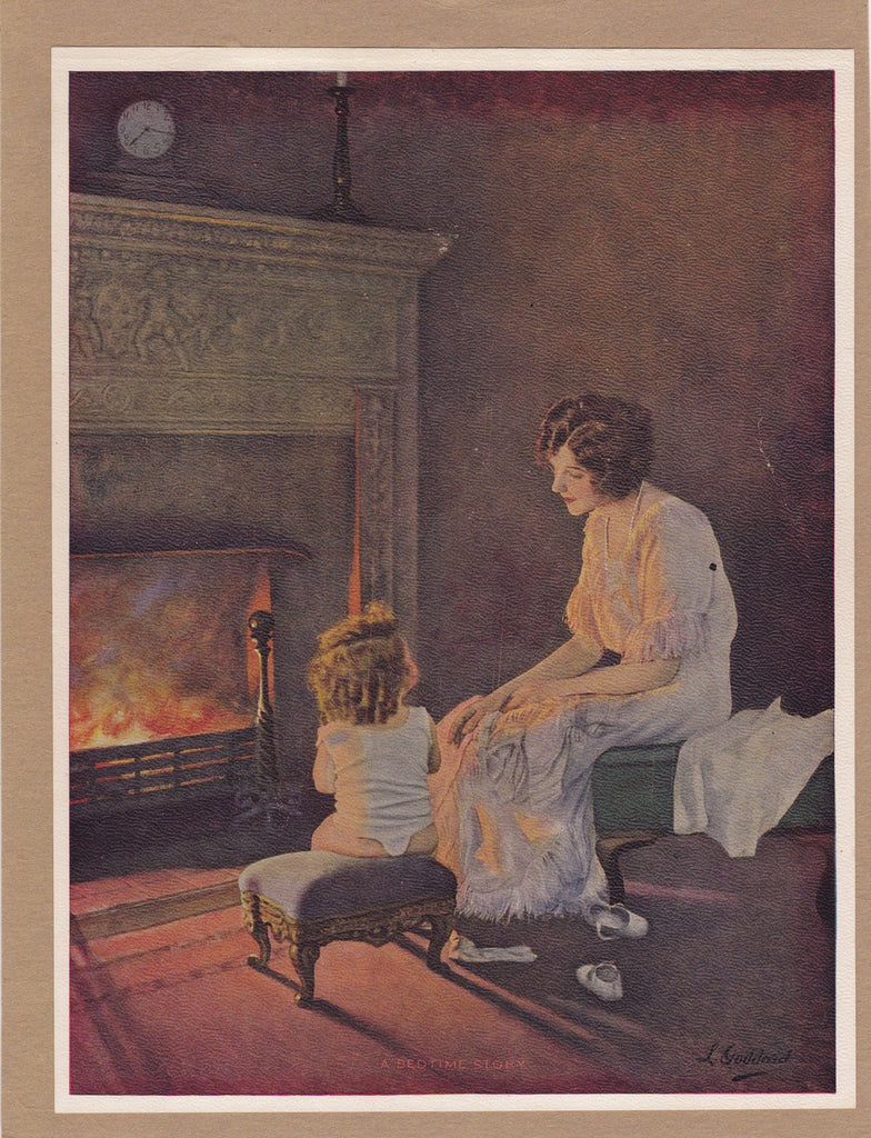 A Bedtime Story- 1920s Antique Print- Mother and Child- Fireplace- Edwardian Art- L Goddard- Artist Signed- Lithograph Print- Paper Ephemera