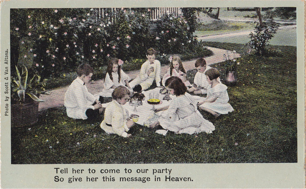 Give Her this Message in Heaven-  1900s Antique Postcard- Illustrated Song Serie- Song Lyrics- Art Card- Edwardian Mourning- Used