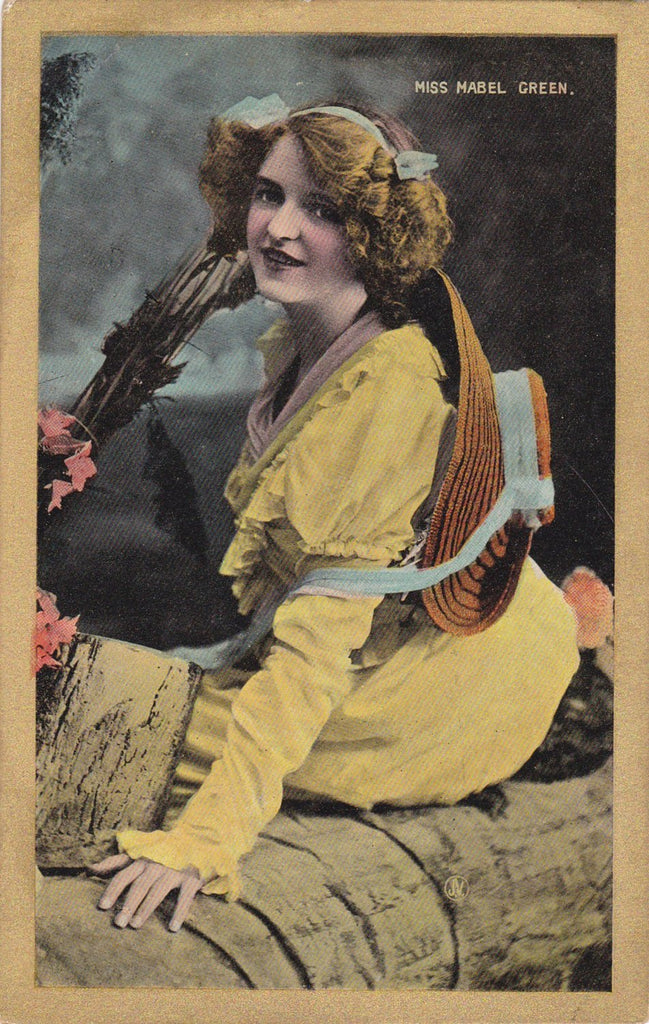 Miss Mabel Green- 1900s Antique Postcard- Edwardian Actress- Glamour Girl- Valentine's Series- Unused