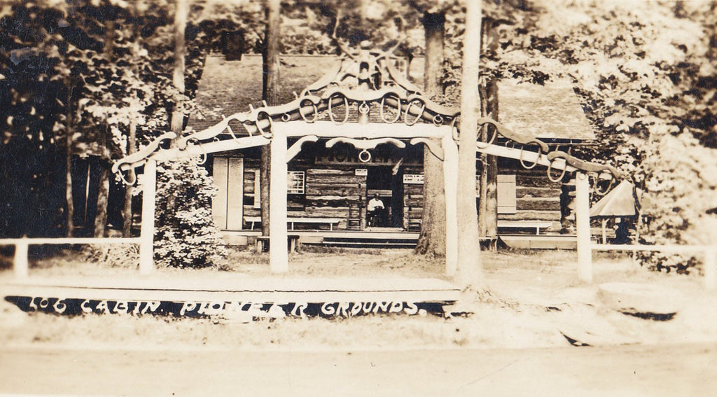 Pioneer Log Cabin- 1910s Antique Photograph- Pioneer Grounds, Silver Lake, NY- New York History- Real Photo Postcard- AZO RPPC
