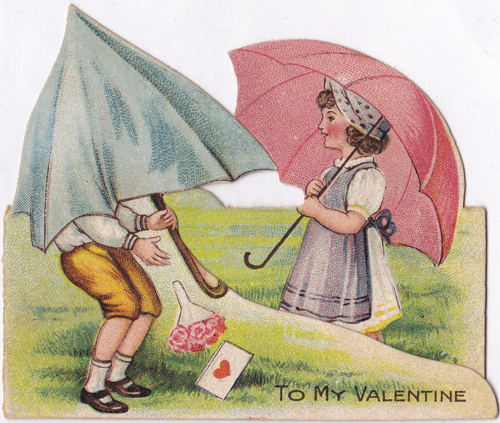 Rain or Shine- 1920s Antique Valentine Card- Umbrella- Parasol- To My Valentine- Love Letter- Used