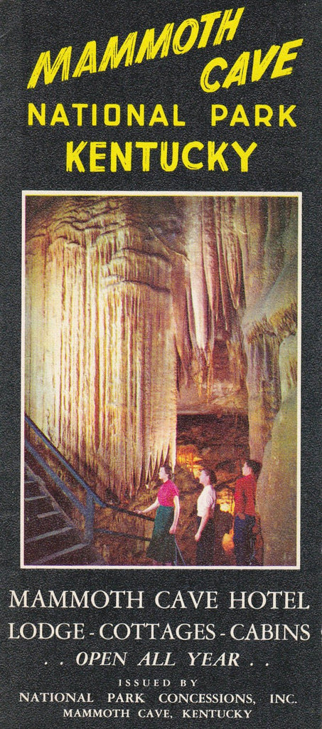 Mammoth Cave- 1950s Vintage Pamphlet- National Park- Kentucky Map- Tourist Information- Travel Brochure- Souvenir- Paper Ephemera