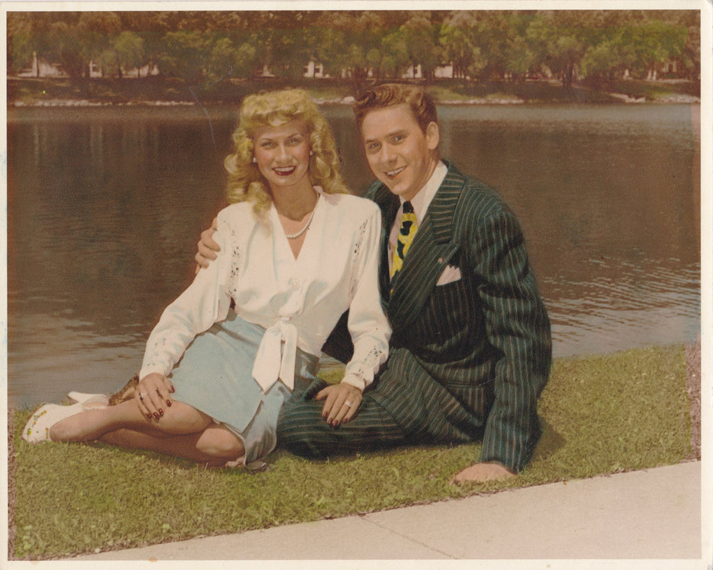 Hotsy Totsy- 1940s Vintage Photograph- Golden Couple- Beautiful Blonde- Hand Tinted- All American- Zoot Suit- Found Photo- Paper Ephemera